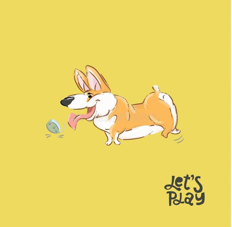 Ευτυχής διανυσματική απεικόνιση σφαιρών παιχνιδιού σκυλιών Corgi Ανόητη κουταβιών αφίσα τυπωμένων υλών τυπογραφίας τρεξίματος χαρ διανυσματική απεικόνιση