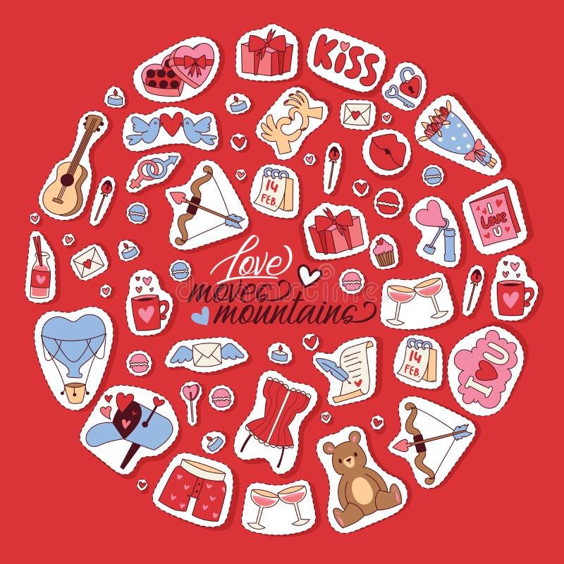 Ευτυχής διανυσματική απεικόνιση υποβάθρου ημέρας βαλεντίνων Η αγάπη κινεί τα βουνά Οι καρδιές, φιλιά, αντέχουν τα παιχνίδια, δώρα απεικόνιση αποθεμάτων