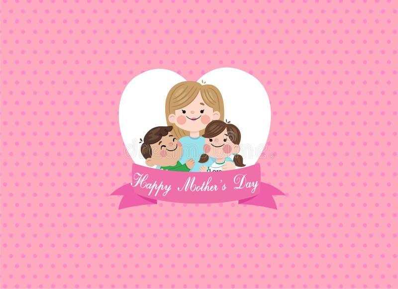 Ευτυχής διανυσματική εικόνα ευχετήριων καρτών έννοιας σχεδίου ημέρας μητέρων απεικόνιση αποθεμάτων