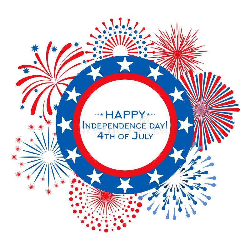 Ευτυχής διανυσματική κάρτα ημέρας της ανεξαρτησίας με τα πυροτεχνήματα 4 Ιουλίου πρότυπο εμβλημάτων διανυσματική απεικόνιση