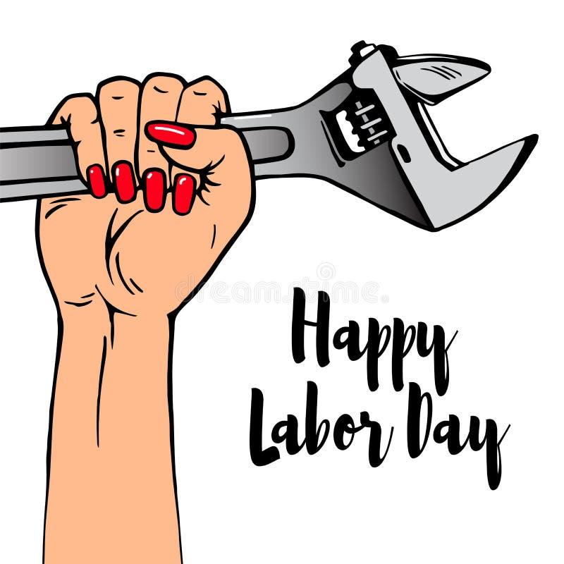 Ευτυχής εγγραφή Εργατικής Ημέρας Το θηλυκό χέρι κινούμενων σχεδίων με το μανικιούρ κρατά το διευθετήσιμο γαλλικό κλειδί διανυσματική απεικόνιση
