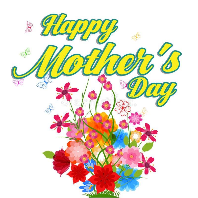 Ευτυχής εγγραφή ημέρας μητέρων Ευχετήρια κάρτα ημέρας μητέρων με τα λουλούδια απεικόνιση αποθεμάτων