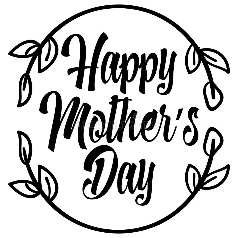 Ευτυχής εγγραφή ημέρας μητέρων ` s ελεύθερη απεικόνιση δικαιώματος