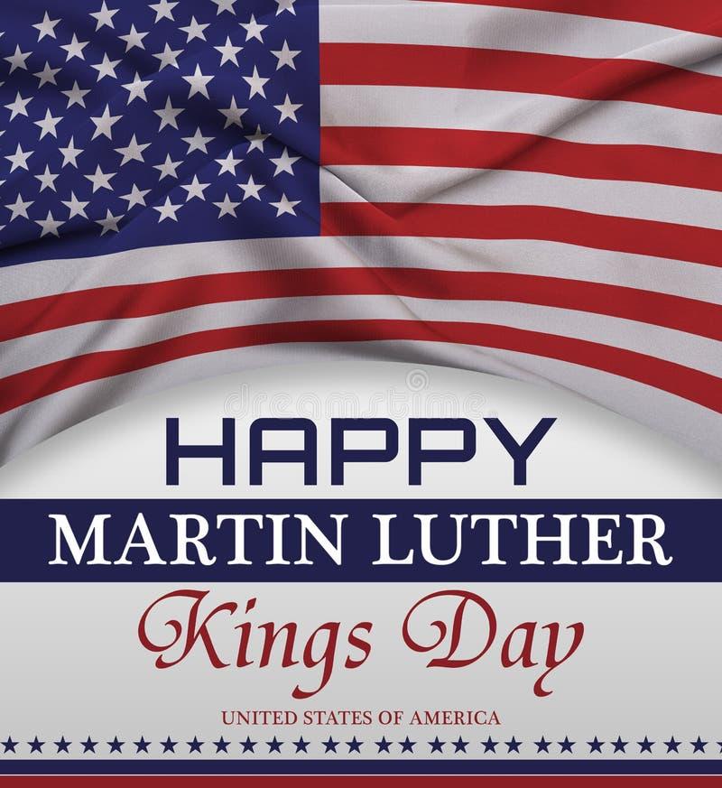Ευτυχής εγγραφή χαιρετισμού ημέρας βασιλιάδων Martin luther, αμερικανική σημαία στοκ φωτογραφία με δικαίωμα ελεύθερης χρήσης