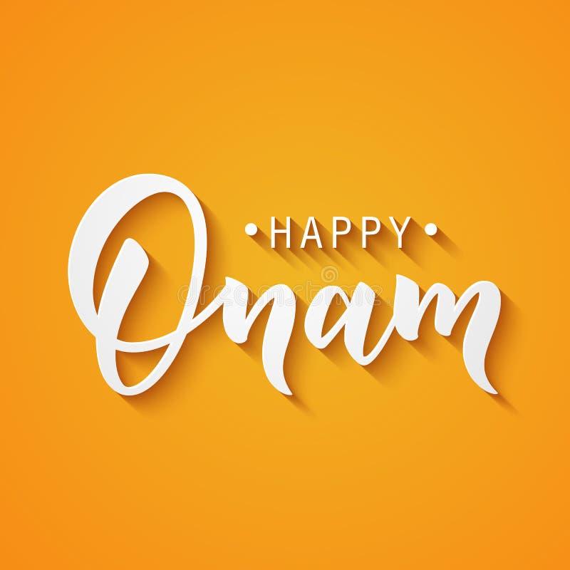 Ευτυχής εγγραφή χαιρετισμού Onam Φράση τυπογραφίας μελανιού για το ινδικό φεστιβάλ Μαύρο κείμενο που απομονώνεται στο εορταστικό  ελεύθερη απεικόνιση δικαιώματος
