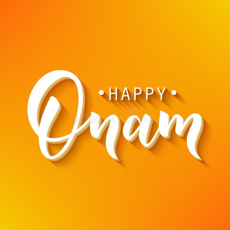 Ευτυχής εγγραφή χαιρετισμού Onam Φράση τυπογραφίας μελανιού για το ινδικό φεστιβάλ Μαύρο κείμενο στο εορταστικό πορτοκάλι απεικόνιση αποθεμάτων
