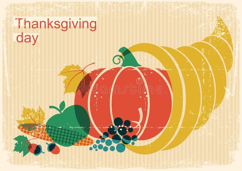 Ευτυχής εκλεκτής ποιότητας αφίσα ημέρας των ευχαριστιών με το κέρα της Αμαλθιας και το pumpki απεικόνιση αποθεμάτων