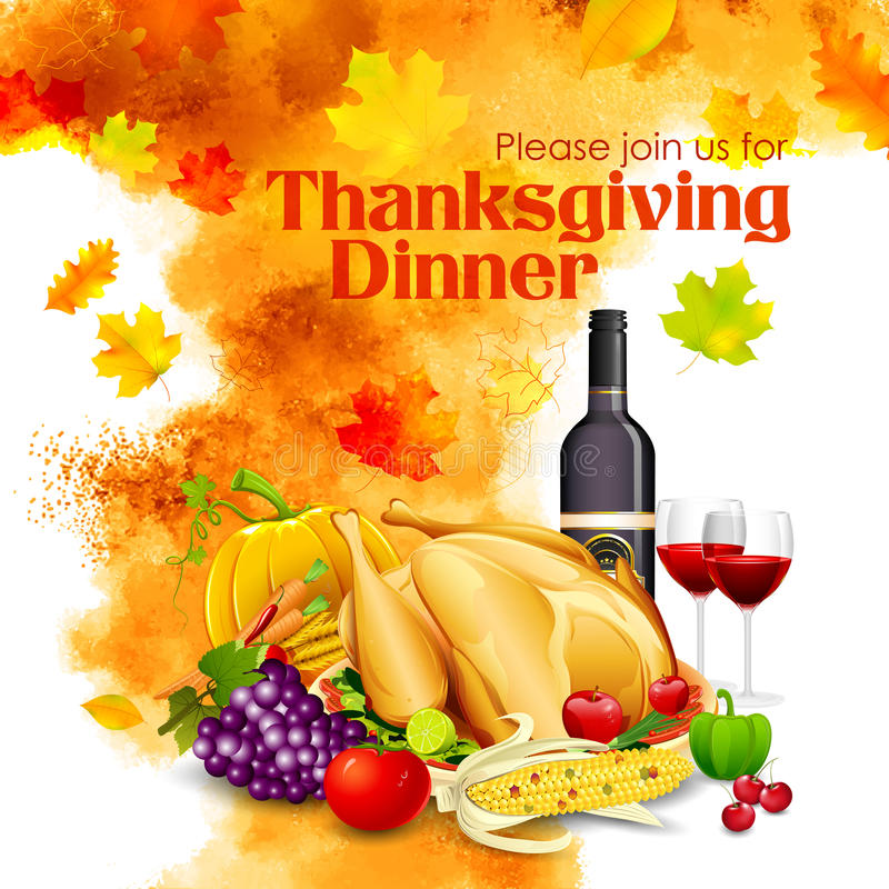 Ευτυχής εορτασμός γευμάτων ημέρας των ευχαριστιών διανυσματική απεικόνιση