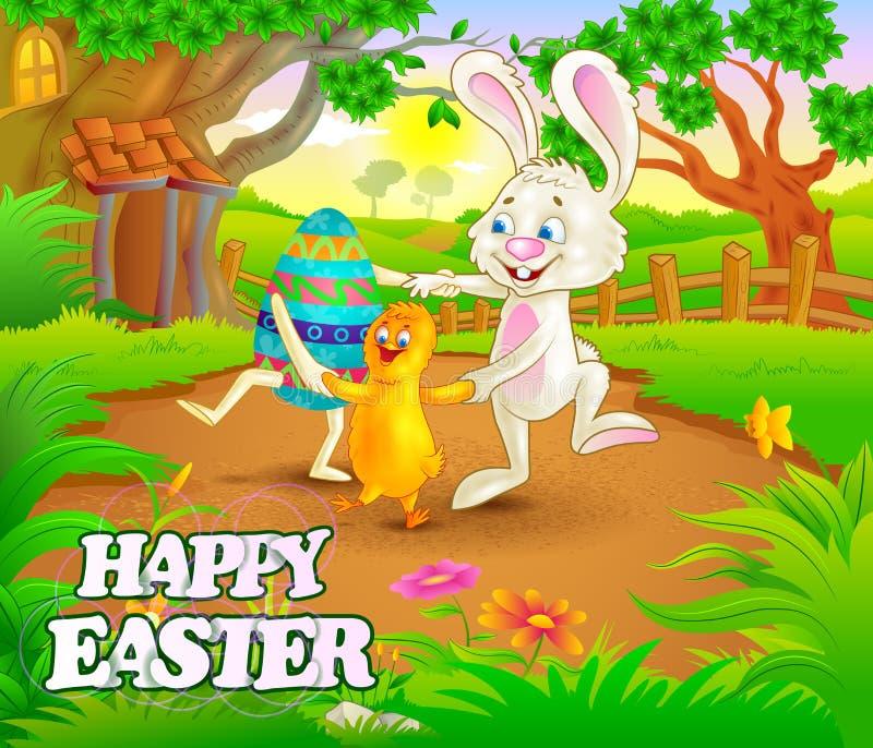 Ευτυχής εορτασμός διακοπών Πάσχας διανυσματική απεικόνιση