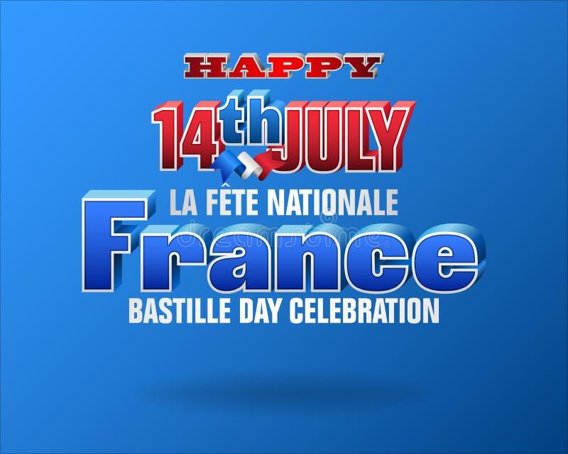 Ευτυχής εορτασμός του δέκατου τέταρτου Ιουλίου, της ημέραης Bastille ελεύθερη απεικόνιση δικαιώματος