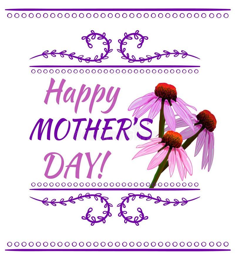 Ευτυχής επιγραφή ημέρας μητέρων ` s, ΔΙΑΝΥΣΜΑΤΙΚΌ στοιχείο σχεδίου με τα ρόδινα λουλούδια ελεύθερη απεικόνιση δικαιώματος