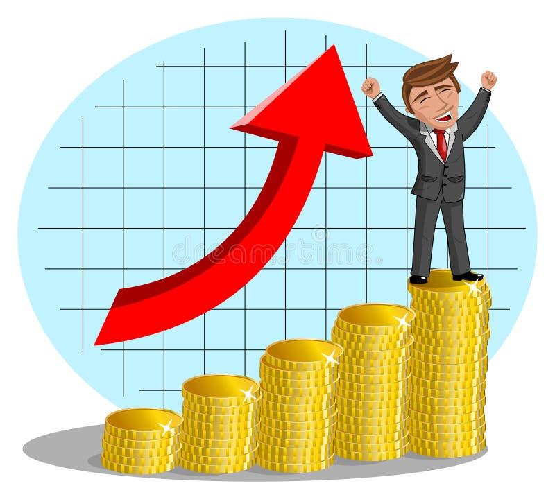Ευτυχής επιχειρηματίας κινούμενων σχεδίων ενθουσιώδης στα χρήματα απεικόνιση αποθεμάτων