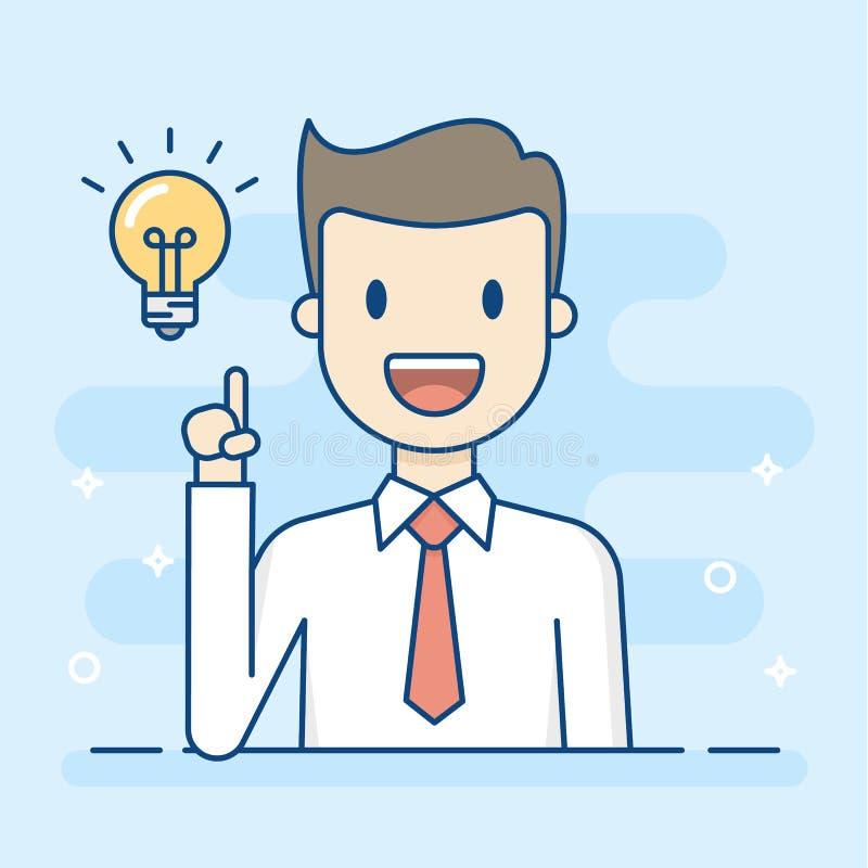 Ευτυχής επιχειρηματίας που έχει μια καλή ιδέα απεικόνιση αποθεμάτων