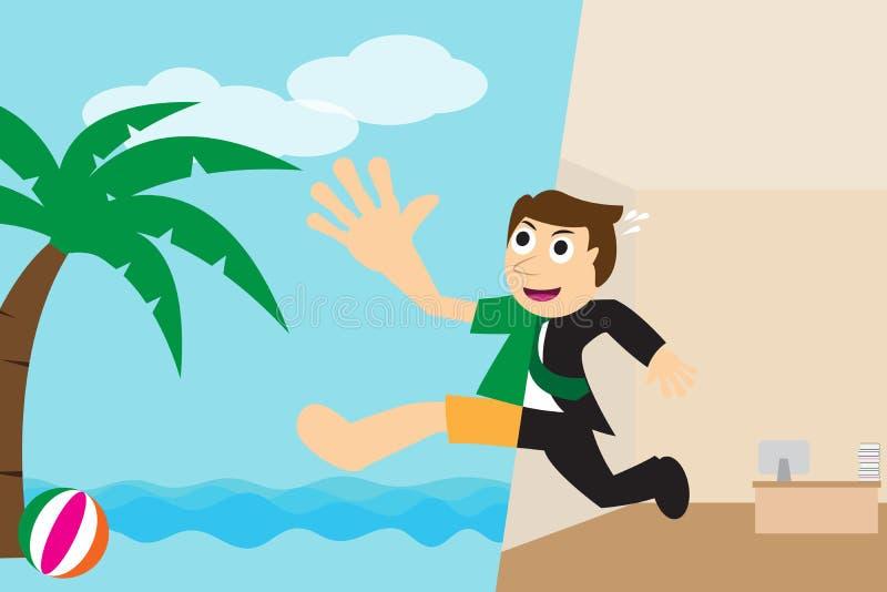 Ευτυχής επιχειρηματίας που πηγαίνει να χαλαρώσει στην παραλία για τις διακοπές διανυσματική απεικόνιση