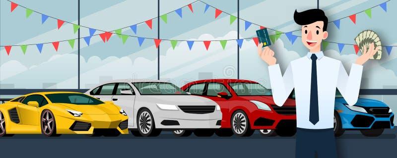 Ευτυχής επιχειρηματίας, στάση πωλητών και εκμετάλλευση μια πιστωτική κάρτα και χρήματα μπροστά από το αυτοκίνητο πολυτέλειας ομάδ διανυσματική απεικόνιση