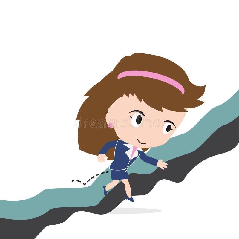 Ευτυχής επιχειρησιακή γυναίκα που πηδά πέρα από το χάσμα του απότομου βράχου ή του εμποδίου στην έννοια επιτυχίας διανυσματική απεικόνιση