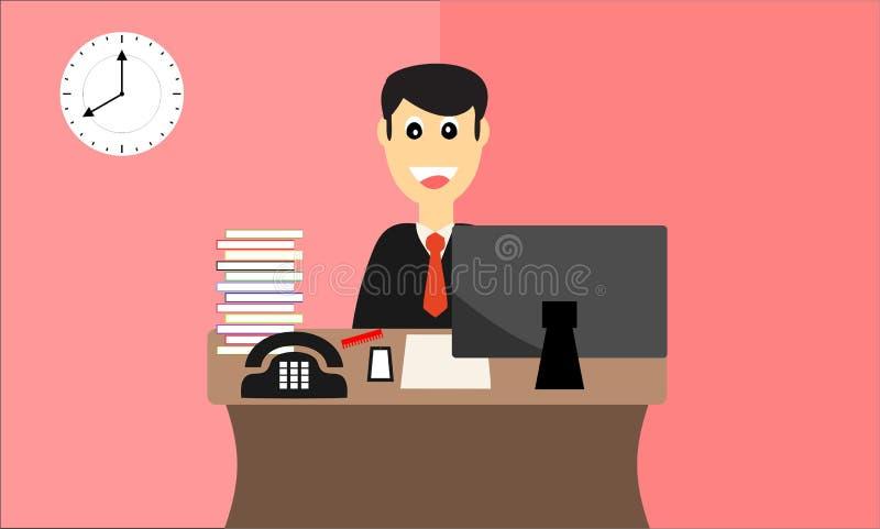 Ευτυχής εργαζόμενος έτοιμος για την εργασία στο επίπεδο σχέδιο γραφείων διανυσματική απεικόνιση
