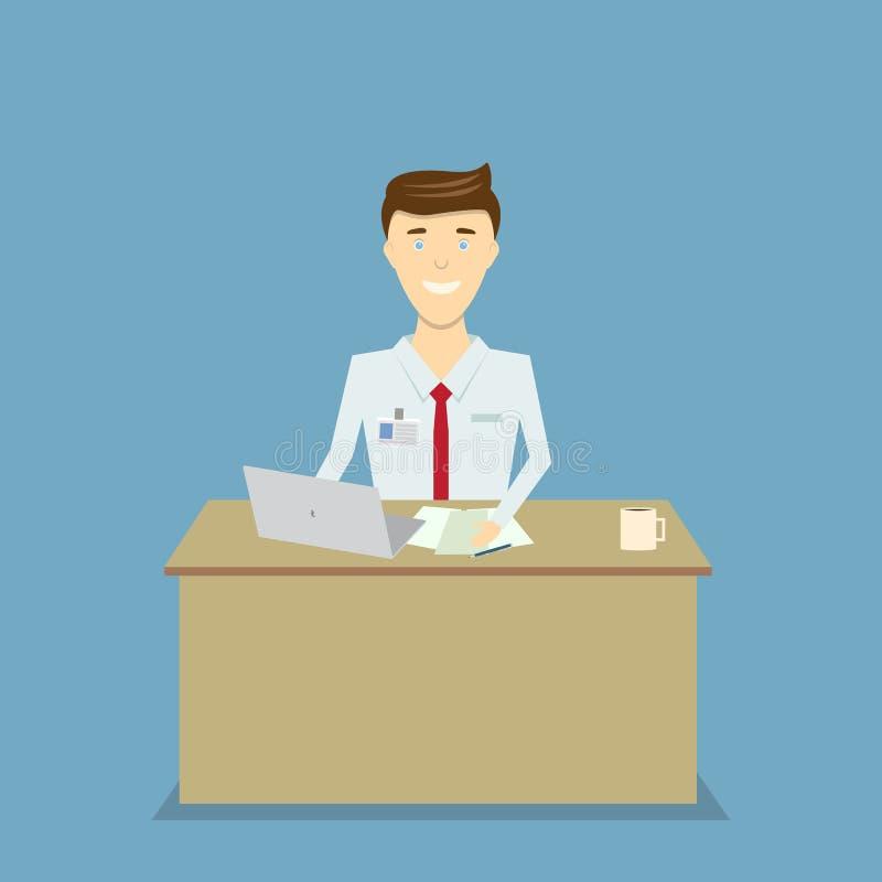 Ευτυχής εργαζόμενος γραφείων σε έναν υπολογιστή διανυσματική απεικόνιση