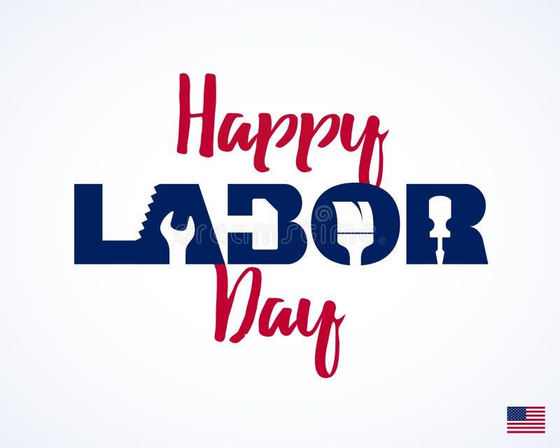 Ευτυχής Εργατική Ημέρα, ευχετήρια κάρτα διανυσματική απεικόνιση