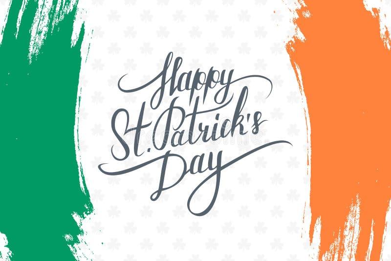 Ευτυχής ευχετήρια κάρτα ημέρας Αγίου Πάτρικ ` s με τις χειρόγραφα επιθυμίες και τα κτυπήματα βουρτσών στα χρώματα της ιρλανδικής  διανυσματική απεικόνιση