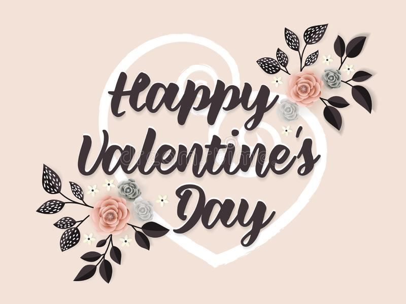 Ευτυχής ευχετήρια κάρτα ημέρας βαλεντίνων με την καρδιά και τη διακόσμηση λουλουδιών - διανυσματική απεικόνιση ελεύθερη απεικόνιση δικαιώματος