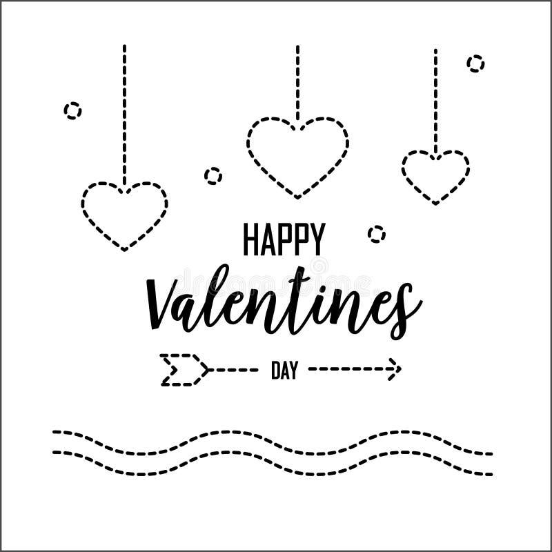 Ευτυχής ευχετήρια κάρτα ημέρας βαλεντίνων με τη γραμμή εξόρμησης Γραφική έννοια αγάπης σχεδίου και διακοπών r απεικόνιση αποθεμάτων