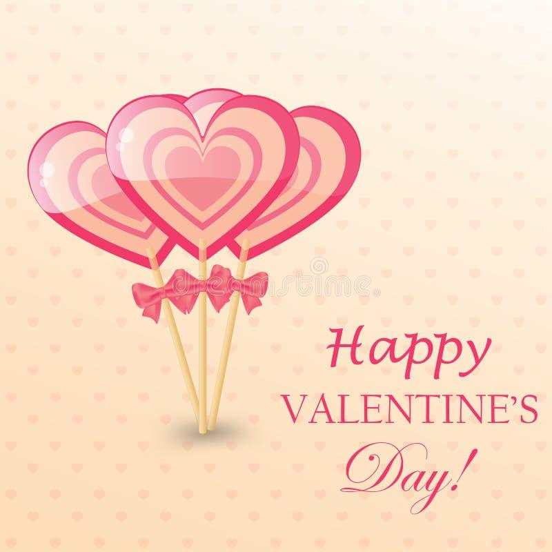 Ευτυχής ευχετήρια κάρτα ημέρας βαλεντίνων με καρδιά-διαμορφωμένος lollipop ελεύθερη απεικόνιση δικαιώματος