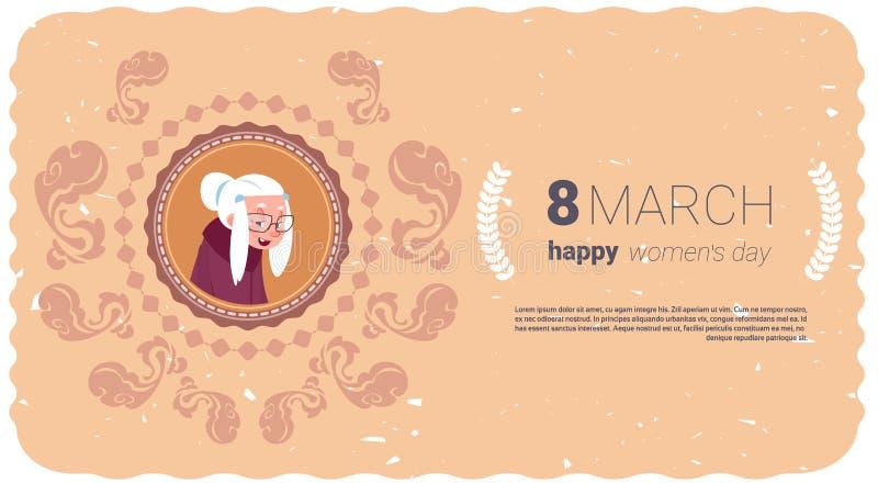 Ευτυχής ευχετήρια κάρτα ημέρας γυναικών με τη γιαγιά πέρα από την έννοια διακοπών στις 8 Μαρτίου Backgrond προτύπων διανυσματική απεικόνιση