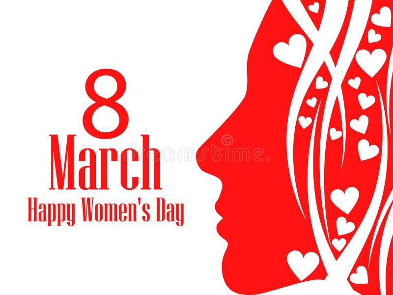 Ευτυχής ευχετήρια κάρτα ημέρας γυναικών ` s 8 Μαρτίου Θηλυκό πρόσωπο με το κείμενο των συγχαρητηρίων πρόσθετες διακοπές μορφής κα ελεύθερη απεικόνιση δικαιώματος
