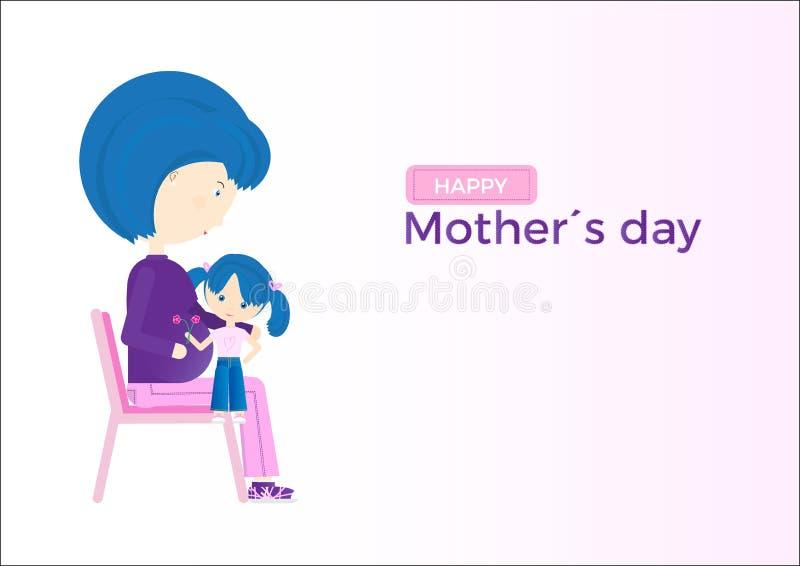 Ευτυχής ευχετήρια κάρτα ημέρας μητέρων Έγκυος μητέρα με την κόρη της ελεύθερη απεικόνιση δικαιώματος