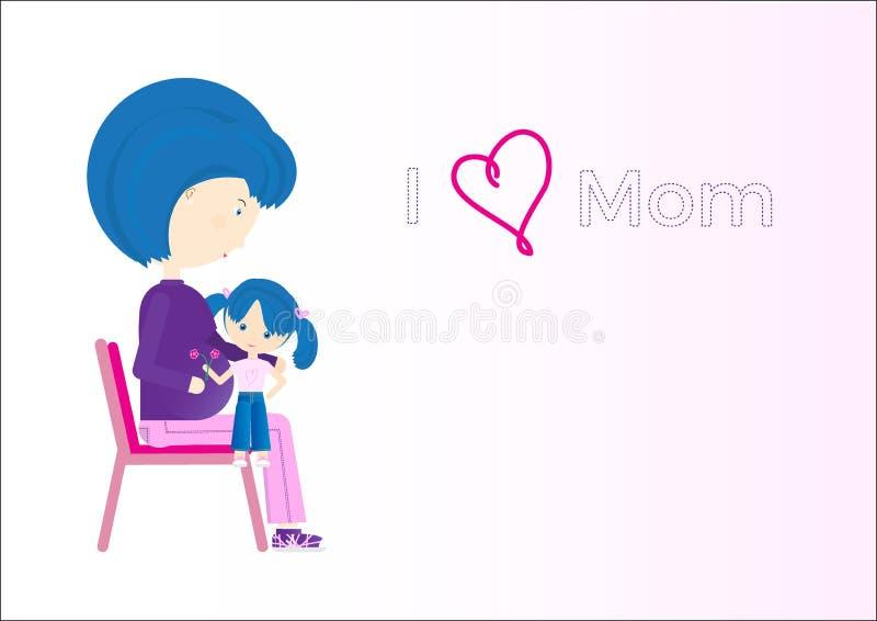 Ευτυχής ευχετήρια κάρτα ημέρας μητέρων Έγκυος μητέρα με την κόρη της απεικόνιση αποθεμάτων