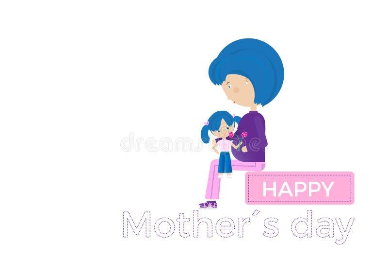 Ευτυχής ευχετήρια κάρτα ημέρας μητέρων Έγκυος μητέρα με την κόρη της διανυσματική απεικόνιση