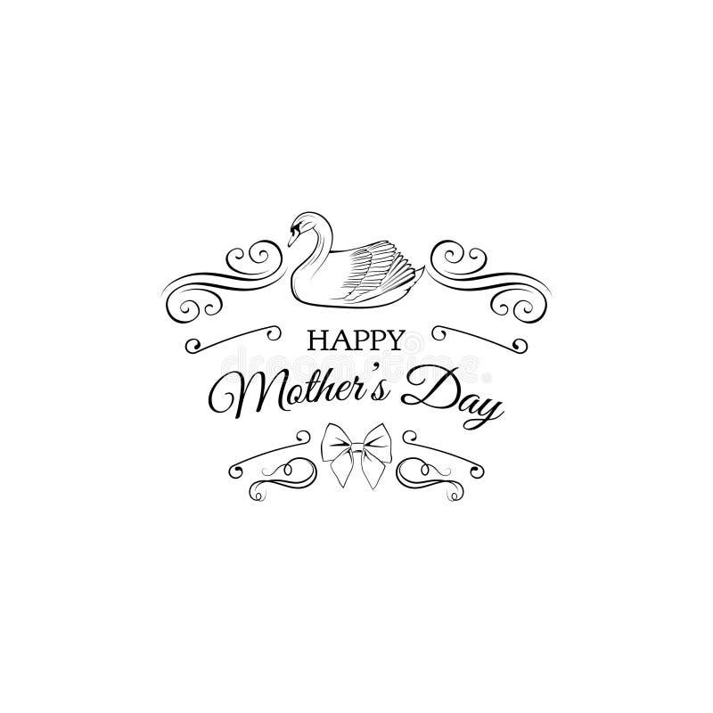 Ευτυχής ευχετήρια κάρτα ημέρας μητέρων s με τον κύκνο, τους στροβίλους και το τόξο επίσης corel σύρετε το διάνυσμα απεικόνισης απεικόνιση αποθεμάτων