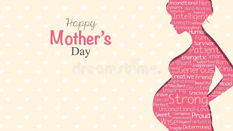 Ευτυχής ευχετήρια κάρτα ημέρας μητέρων ` s Ρόδινη σκιαγραφία της εγκύου γυναίκας με ένα σύννεφο των λέξεων μέσα σε ένα κίτρινο υπ απεικόνιση αποθεμάτων