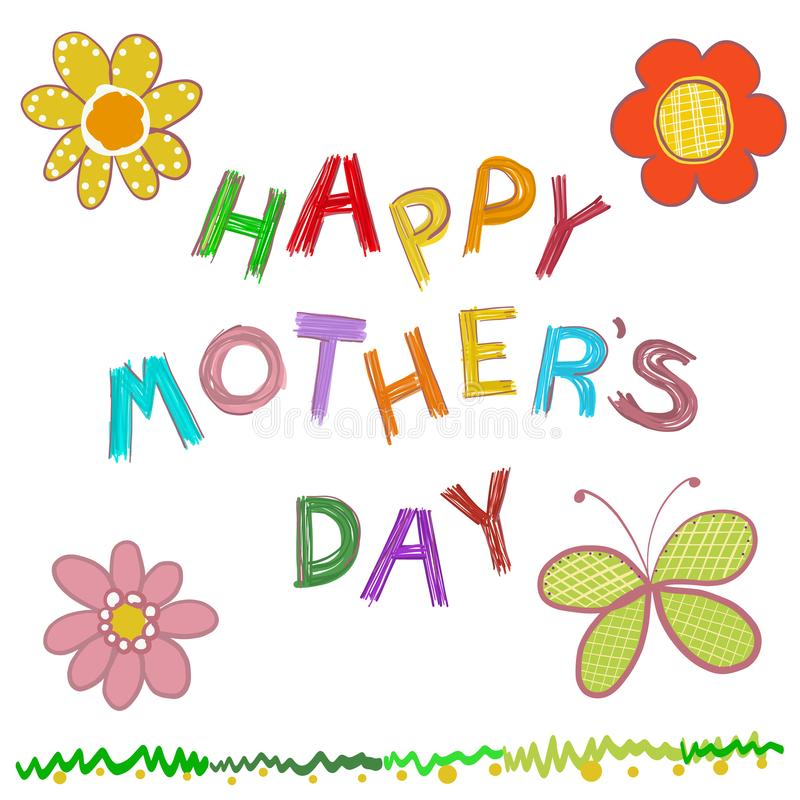 Ευτυχής ευχετήρια κάρτα ημέρας μητέρων ` s Το Doodle ανθίζει συρμένο το χέρι κείμενο ημέρας `` μητέρων ` s `` ευτυχές απεικόνιση αποθεμάτων