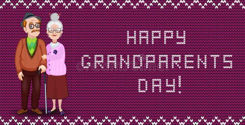 Ευτυχής ευχετήρια κάρτα ημέρας παππούδων και γιαγιάδων για τη γιαγιά και τον παππού απεικόνιση αποθεμάτων