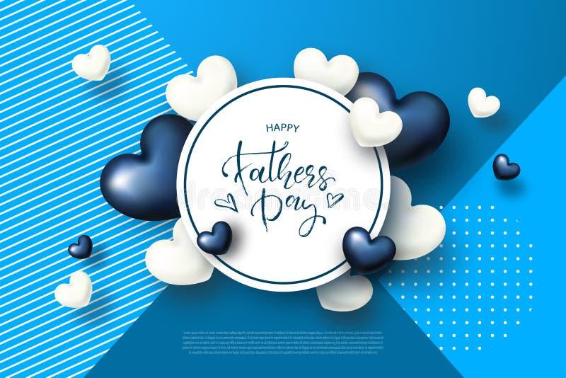 Ευτυχής ευχετήρια κάρτα ημέρας πατέρων s με τις καρδιές επίσης corel σύρετε το διάνυσμα απεικόνισης ελεύθερη απεικόνιση δικαιώματος