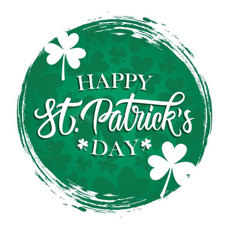 Ευτυχής ευχετήρια κάρτα ημέρας του ST Πάτρικ με την εγγραφή χεριών, τριφύλλια στον πράσινο κύκλο να βουρτσίσει το υπόβαθρο κτυπήμ ελεύθερη απεικόνιση δικαιώματος