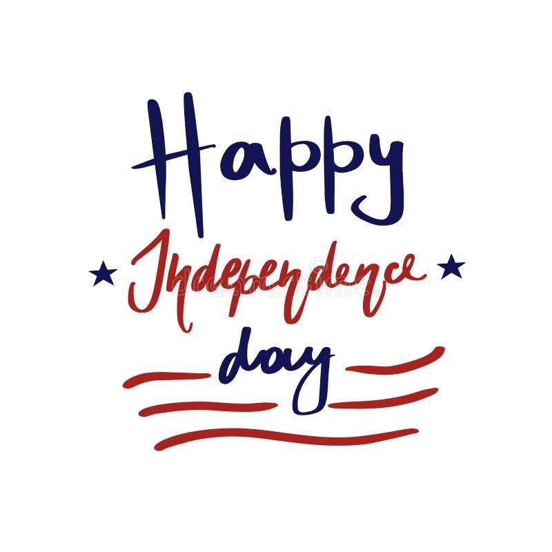 Ευτυχής ευχετήρια κάρτα Ηνωμένης ημέρας της ανεξαρτησίας Κόκκινα λωρίδες, μπλε αστέρια και συρμένη χέρι εγγραφή ελεύθερη απεικόνιση δικαιώματος