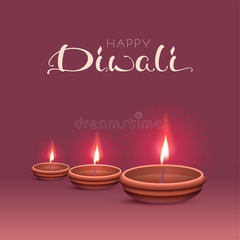 Ευτυχής ευχετήρια κάρτα κειμένων Diwali Ινδικό φεστιβάλ των φω'των διανυσματική απεικόνιση