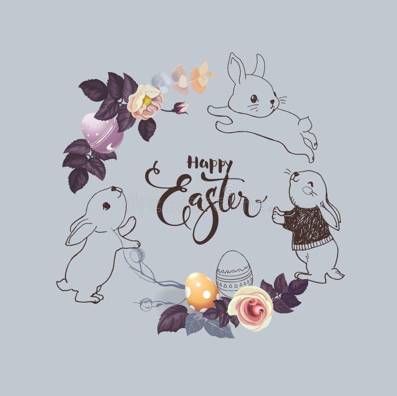 Ευτυχής ευχετήρια κάρτα Πάσχας Διανυσματική απεικόνιση με το ζωηρόχρωμο στεφάνι των λουλουδιών, των αυγών και των κουνελιών Χέρι  ελεύθερη απεικόνιση δικαιώματος