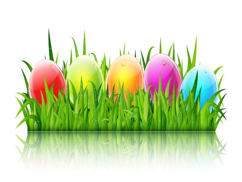 Ευτυχής ευχετήρια κάρτα Πάσχας με τα ζωηρόχρωμα αυγά γυαλιού στο πράσινο gra διανυσματική απεικόνιση