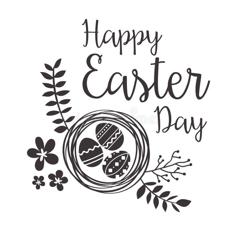 Ευτυχής ευχετήρια κάρτα Πάσχας με τα λουλούδια και τα αυγά διανυσματική απεικόνιση