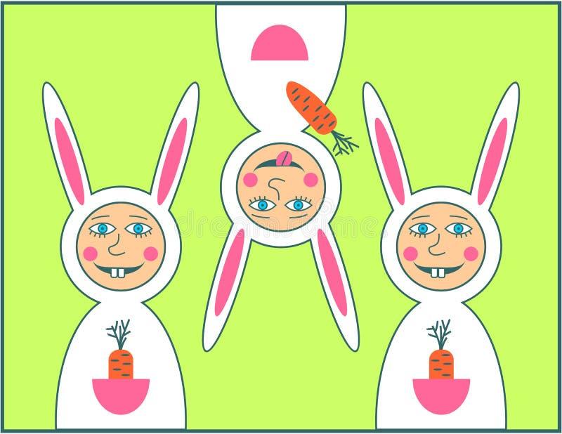 Ευτυχής ευχετήρια κάρτα Πάσχας με το αγόρι κουνελιών στοκ εικόνα