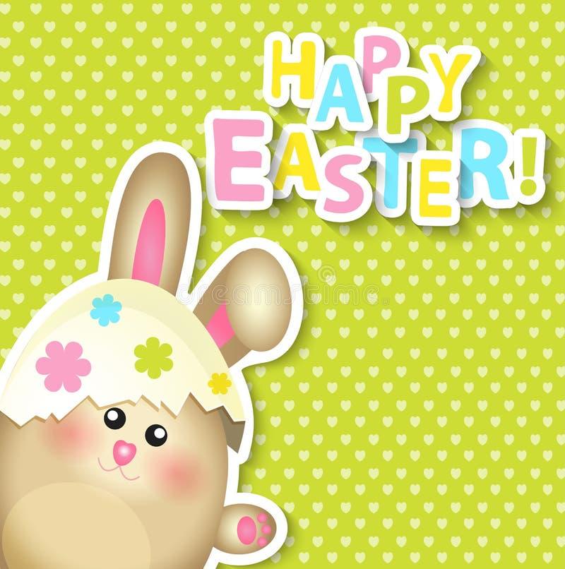 Ευτυχής ευχετήρια κάρτα Πάσχας με το κουνέλι διανυσματική απεικόνιση