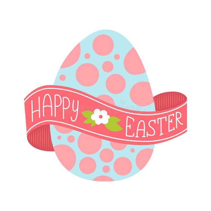 Ευτυχής ευχετήρια κάρτα Πάσχας Συρμένη χέρι εγγραφή με το μεγάλο αυγό Εγγραφή σε μια κορδέλλα που τυλίγεται γύρω από το αυγό απεικόνιση αποθεμάτων