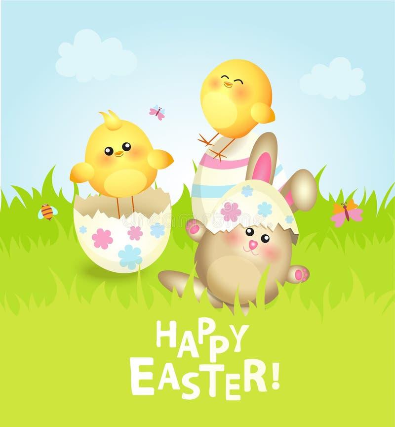 Ευτυχής ευχετήρια κάρτα Πάσχας ελεύθερη απεικόνιση δικαιώματος