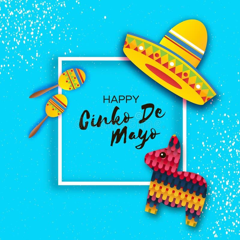 Ευτυχής ευχετήρια κάρτα Cinco de Mayo Ανεμιστήρας εγγράφου, αστείο Pinata, Maraca στο ύφος περικοπών εγγράφου Καπέλο σομπρέρο Ori απεικόνιση αποθεμάτων