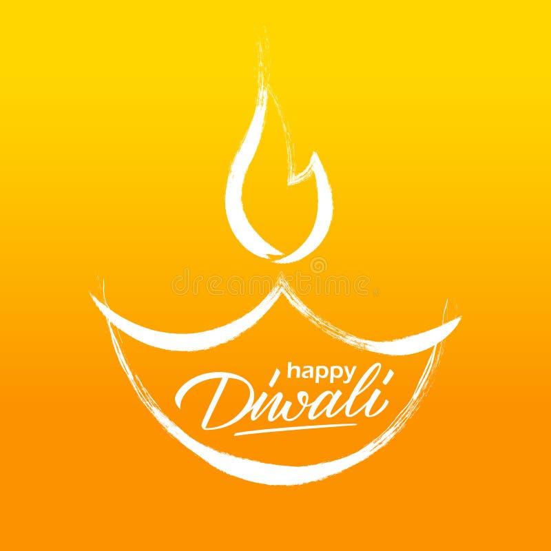 Ευτυχής ευχετήρια κάρτα Diwali με συρμένους τους χέρι χαιρετισμούς διακοπών εγγραφής ελαιολυχνιών και χεριών Εορτασμός Diwali διανυσματική απεικόνιση