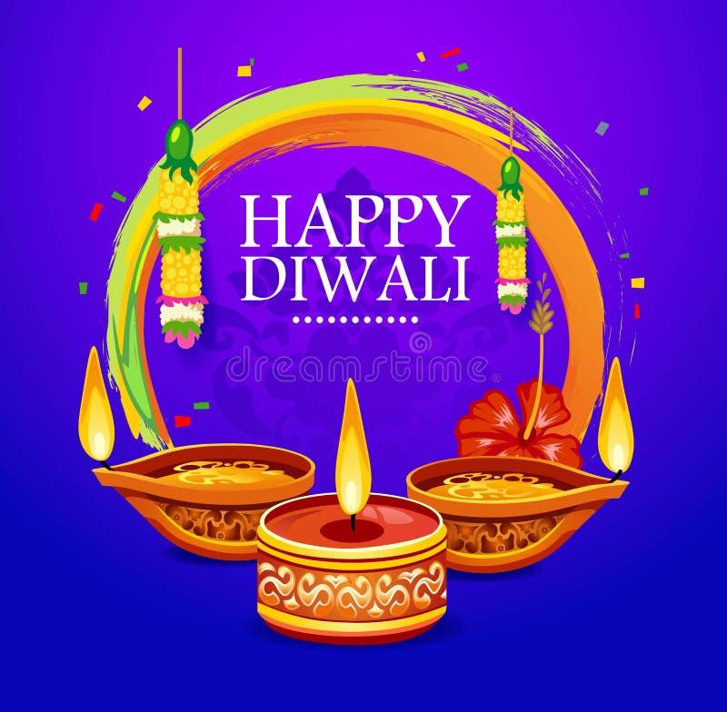 Ευτυχής ευχετήρια κάρτα Diwali με τα στοιχεία διακοσμήσεων Διανυσματικό illu απεικόνιση αποθεμάτων
